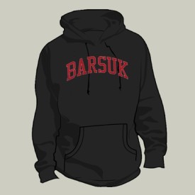 br13: Barsuk Records / Black Pullover Hoodie With Red Stitching