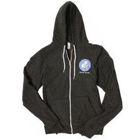 br21: Barsuk Records / Blue Logo On Dark Gray Zip Hoodie